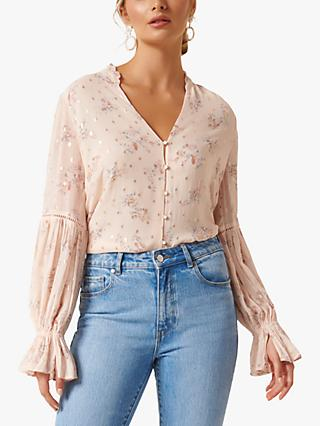 Forever New Ari Clipped Blossom Shirt, Apricot
