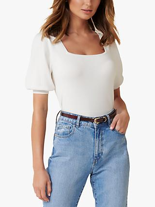 Forever New Kenzie Square Neck Knit Top, Porcelain