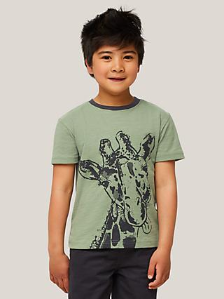 John Lewis & Partners Kids' Giraffe Short Sleeve T-Shirt, Khaki