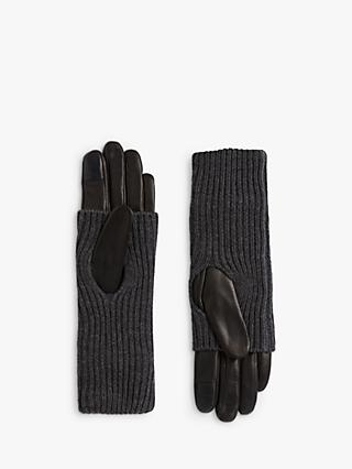 AllSaints Knit Cuff Leather Gloves, Charcoal