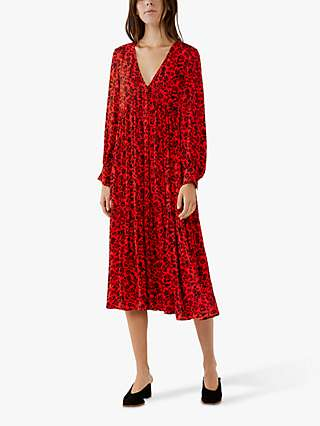 Ghost Angus Floral Crepe Midi Dress, Botanic Red/Black