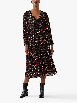 Ghost Angus Floral Midi Dress, Black/Coral/Pink