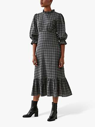 Ghost Darcey Check Midi Dress, Grey/Black
