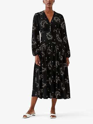 Ghost Lotte Abstract Star Midi Dress, Starlight Black/Ivory