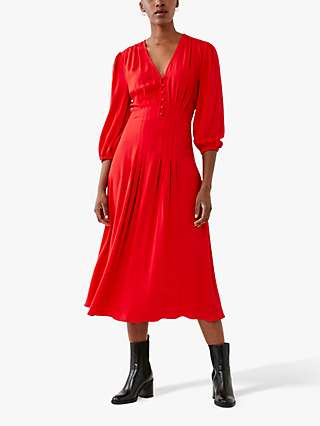 Ghost Bessy V-Neck Midi Dress, Red