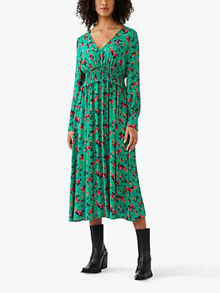Ghost Suki Floral Midi Dress, Misty Rose Green/Red