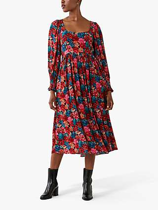 Ghost Portia Floral Square Neck Midi Dress, Bloom Purple/Red