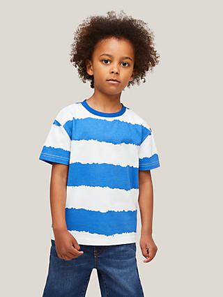 John Lewis & Partners Kids' Water Stripe Short Sleeve T-Shirt, Blue