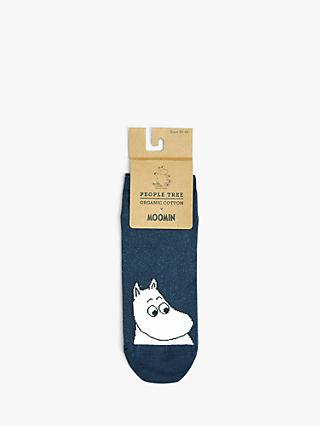 People Tree Moonmin Trainer Socks, Navy