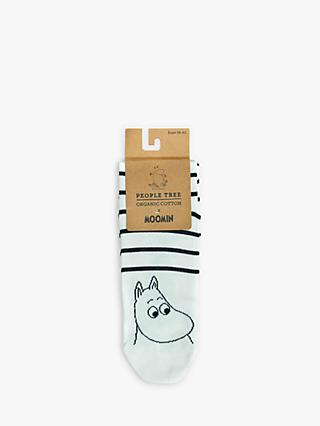 People Tree Moonmin Stripe Socks, White/Navy