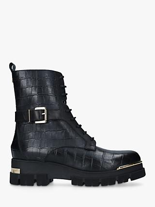 Carvela Stash Leather Croc Biker Boots, Black