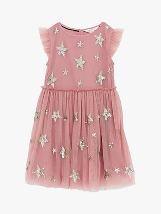 White Stuff Girls' Shooting Star Party Dress, Dusty Pink