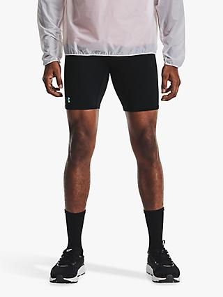 Under Armour Rush Run Long Compression Shorts, Black