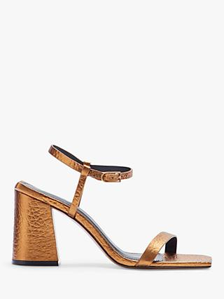 Jigsaw Parnel Metallic Leather Sandals, Gold