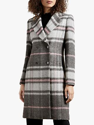 Ted Baker Taniiaa Check Tailored Coat, Mid Grey