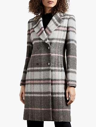 Ted Baker Taniiaa Check Tailored Coat, Mid Grey