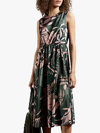 Ted Baker Dagny Leaf Print Dress, Khaki Green