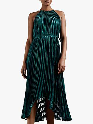 Ted Baker Sasski Cold Shoulder Pleated Dress, Dark Green