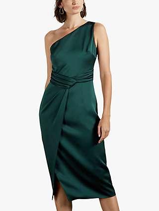 Ted Baker Zaaraa One Shoulder Dress, Dark Green