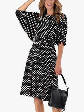 Jolie Moi Batwing Polka Dot Jersey Dress, Navy