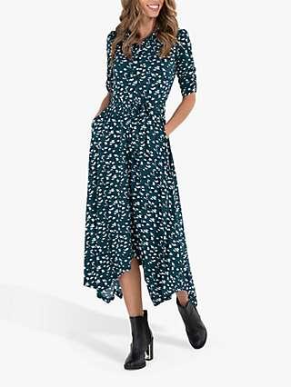 Jolie Moi Abstract Animal Print Handkerchief Shirt Dress