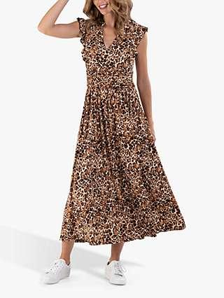 Jolie Moi V-Neck Frill Animal Print Maxi Dress, Brown