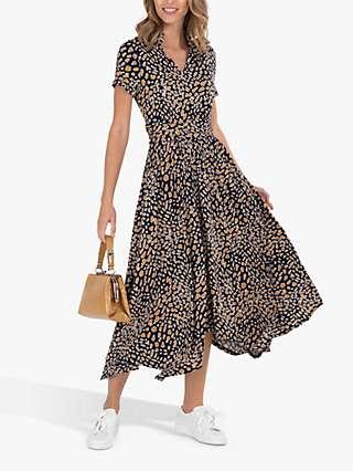 Jolie Moi Animal Print V-Neck Maxi Dress, Brown