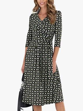 Jolie Moi Geometric Print Midi Wrap Jersey Dress, Soldier Green