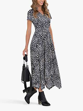 Jolie Moi Animal Print V-Neck Maxi Dress, Navy