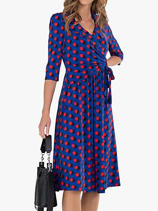 Jolie Moi Spot Print Midi Wrap Jersey Dress, Royal Blue