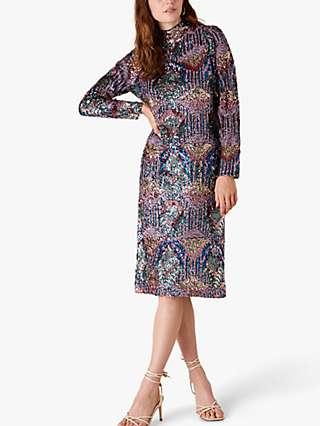 Monsoon Zoey Sequin Embellished Dress, Blue/Multi