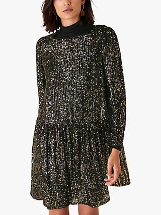 Monsoon Charlotte Sequin Embellished Tunic Dress, Black