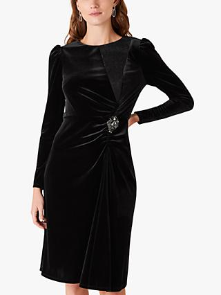 Monsoon Hannah Stretch Velvet Dress, Black