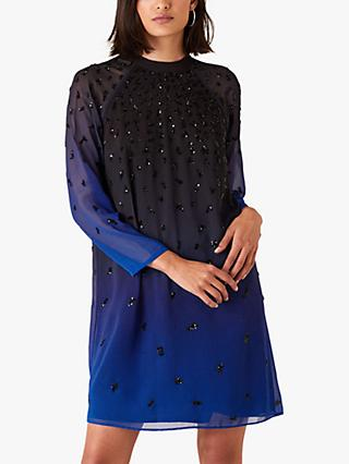 Monsoon Florentina Sequin Ombre Dress, Blue