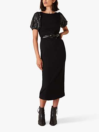 Monsoon Brianna Sequin Puff Sleeve Jersey Midi Dress, Black