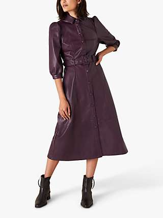 Monsoon Recycled Faux Leather Midi Shirt Dress, Pluim