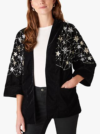 Monsoon Embellished Star Velvet Jacket, Black