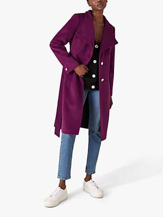 Monsoon Rita Wrap Collar Long Coat, Purple