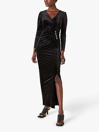 Monsoon Hattie Gem Velvet Maxi Dress, Black
