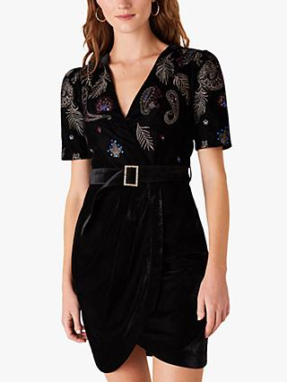 Monsoon Patrice Paisley Embroidered Velvet Dress, Black