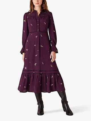 Monsoon Embellished Long Sleeve Midi Dress, Purple