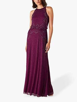 Monsoon Belle Bead Embellished Maxi Dress, Berry