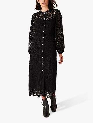 Monsoon Francesca Floral Lace Shirt Dress, Black
