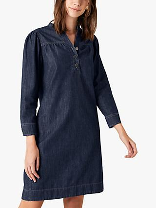 Monsoon Knee Length Denim Dress, Blue