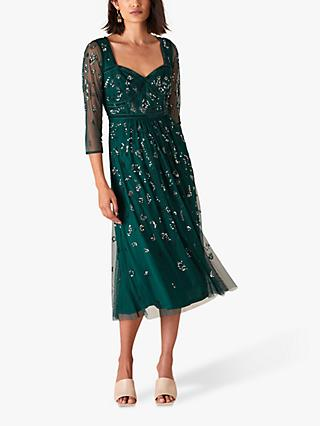 Monsoon Rafaella Embellished Sheer Sleeve Dress, Green