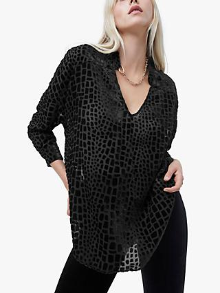 French Connection Ilka Devore Popover Shirt, Black