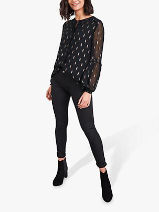 White Stuff Darcy Metallic Jacquard Print Top, Black/Multi