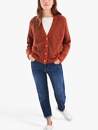 White Stuff Lucinda Fluffy V-Neck Cardigan, Dark Orange