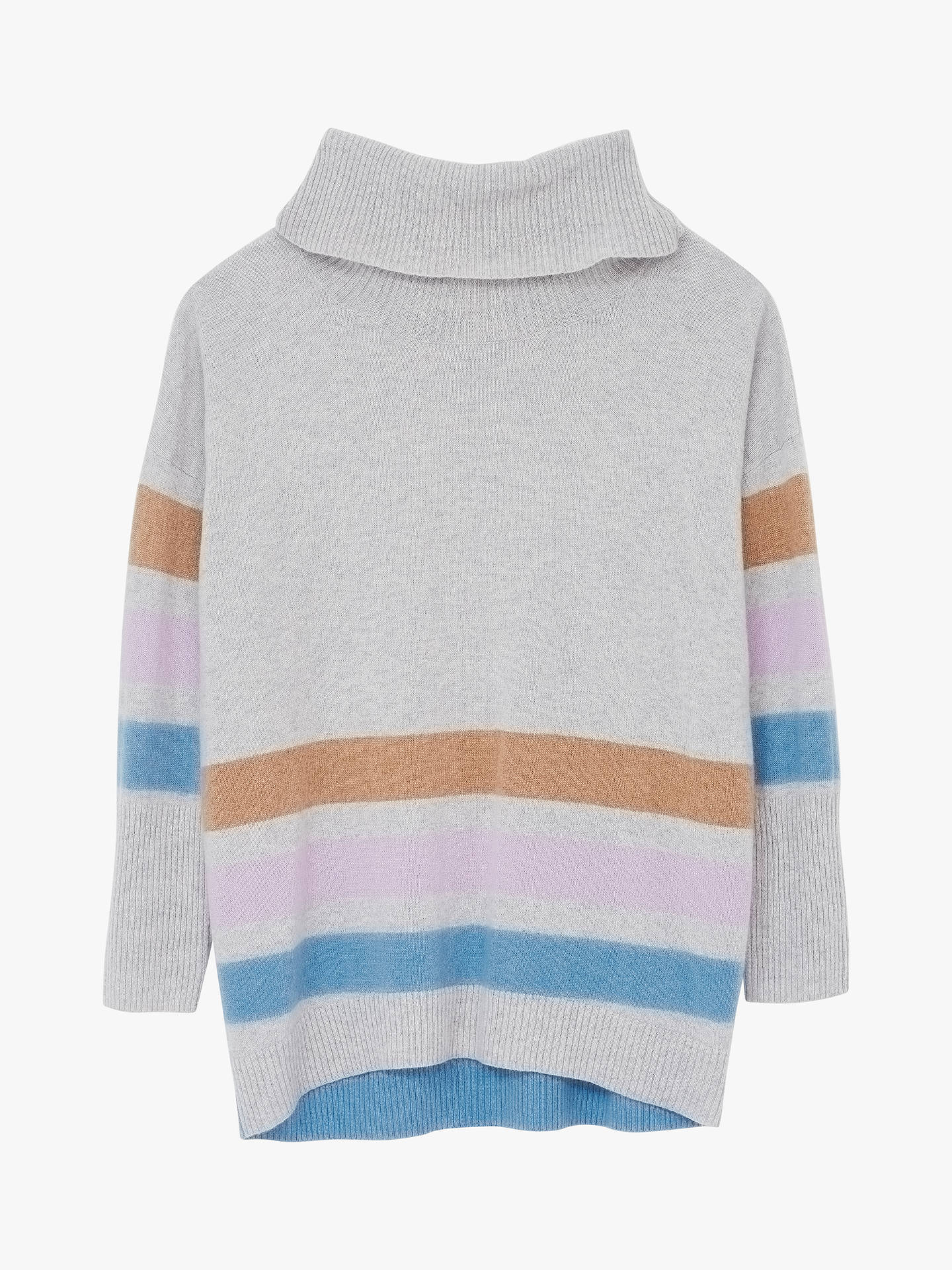 Buy White Stuff Cara Striped Roll Neck Cashmere Jumper, Grey Marl, 10 Online at johnlewis.com