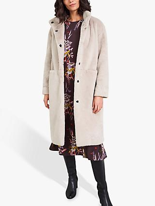 White Stuff Moonbeam Faux Fur Coat, Light Beige
